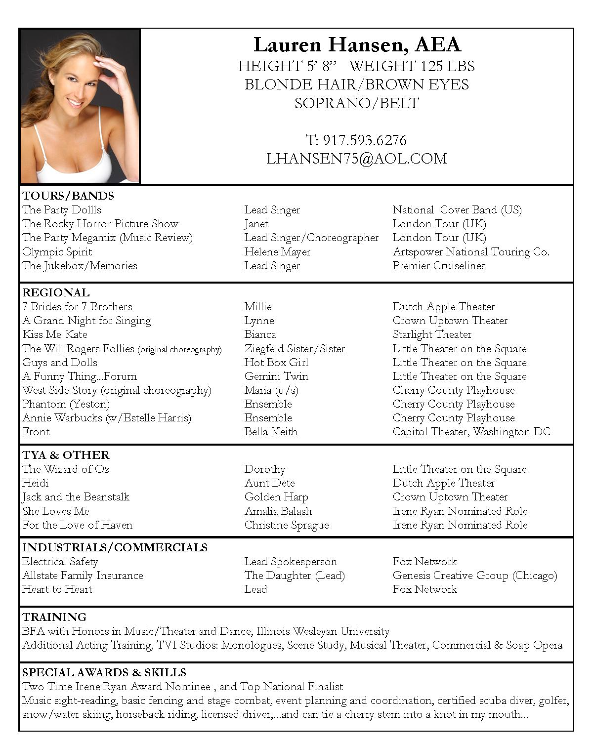 new resume samples actor resume